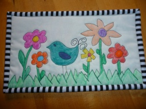 Crayon quilted mug rug