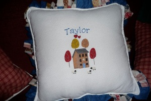 Taylor pillow with design from EL